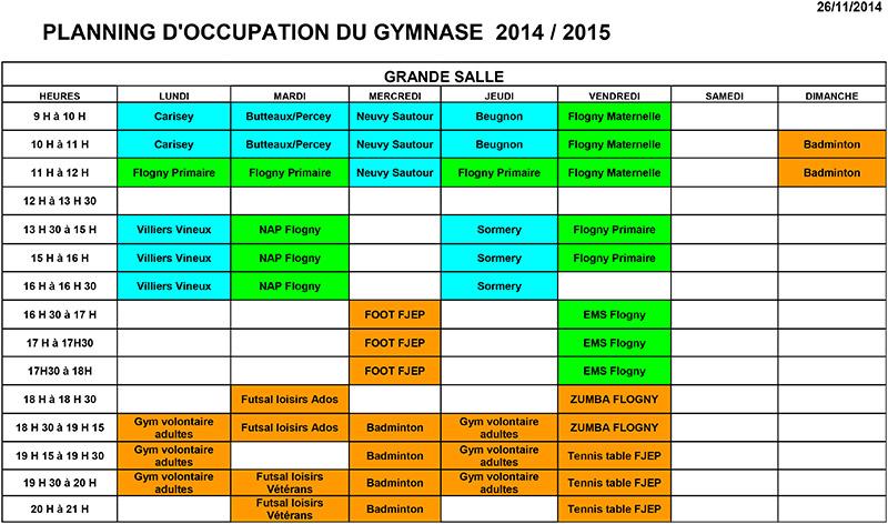planning occupation gymnase flogny la chapelle 2014-2015