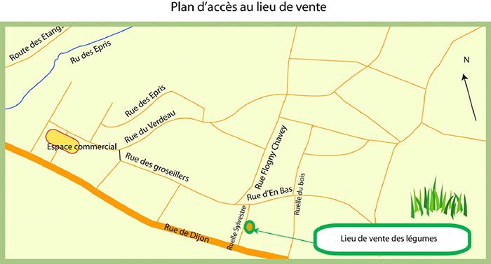 plan d'accès aux jardins des traversaines à flogny la chapelle